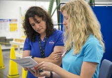 Serena Aunon talks with Boeing's Andrea Gilkey