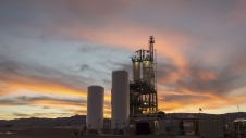 The sun sets over a test stand at Blue Origin's West Texas facility.