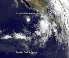 GOES image of two Eastern Pacific storm systems