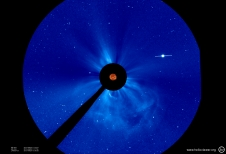 The SOHO LASCO C3 instrument captured this coronographic image of the Earth-directed CME.
