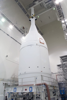 The Orion spacecraft sits inside the Launch Abort System Facility at NASA's Kennedy Space Center in Florida on Nov. 4, 2014