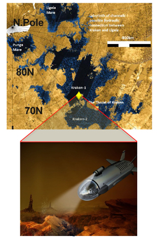 Map depicting location of Titan and location of submarine.