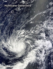 NASA's Terra satellite passed over Hurricane Genevieve in the Central Pacific Ocean.