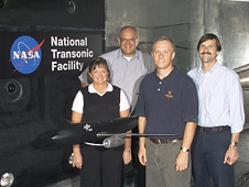 Rudnik is second from left, along with NASA Langley Research Center colleagues, left to right, Melissa S. Rivers, Scott L. Goodliff and Gregory M. Gatlin after testing a commercial airliner at the National Transonic Facility.
