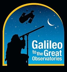 Silhouette of a man gazing at the night sky with the words Galileo to the Great Observatories in the foreground