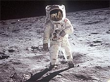 Astronaut Buzz Aldrin wears a spacesuit on the lunar surface
