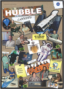 This image depicts the front of the Hubble career poster with people in their work environments