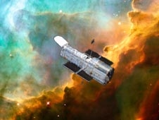 Image of the Hubble Space Telescope with the Omega Nebula in the background