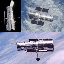 Three different views of the Hubble in space