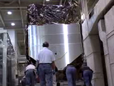 SDO is rolled through Goddard's hallways, in preparation for transport to KSC