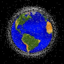 Space debris is tracked as it orbits Earth.