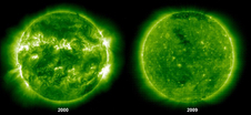 A very dynamic sun compared to a sun deep in solar minimum helps to illustrate the extremes of a solar cycle