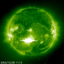 SOHO captured this image of an X28 class solar flare erupting on Tuesday, October 28, 2003.