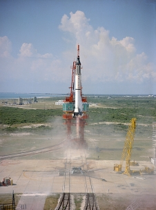 Launch of the Mercury-Redstone 3 rocket carrying astronaut Alan Shepard on America's first human spaceflight. Photo credit: NASA