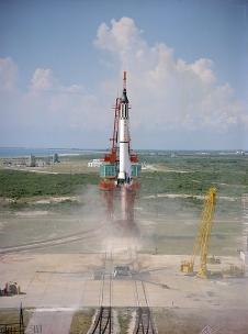 Launch of the Mercury-Redstone 3 rocket carrying astronaut Alan Shepard on America's first human spaceflight. Photo credit: NASA
