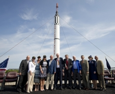 From left; Hugh Harris, Former Director of Public Affairs at Kennedy Space Center, Alice Wackermann, Julie Jenkins, Laura Churchley, daughters of Alan Shepard, Jack King, Robert Moser, Jay Barbree, Scott Carpenter, Robert Cabana, Lt. Gen. Susan J. Helms and NASA Administrator Charles Bolden are seen following a celebration marking the 50th Anniversary of Alan Shepard's first flight into space, Thursday, May 5, 2011, at Cape Canaveral Air Force Station in Cape Canaveral, Fla.