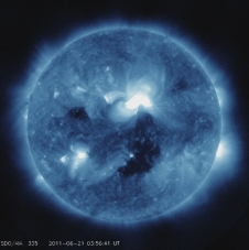 Screen capture from video of June 21, 2011 C7-class solar flare as seen by the SDO spacecraft in 335Å.