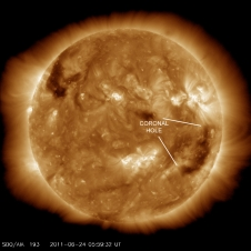 Earth is inside a solar wind stream flowing from the indicated coronal hole.