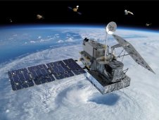 artist concept of GPM and other satellites
