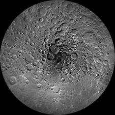This image of the moon's north polar region was taken by the Lunar Reconnaissance Orbiter Camera, or LROC. One of the primary scientific objectives of LROC is to identify regions of permanent shadow and near-permanent illumination.
