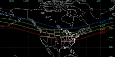Superimposed on a map of North American, the average equator-ward boundary of the midnight aurora is shown for levels of magnetic activity ranging from relatively low, Kp=3, to very high, Kp=9.