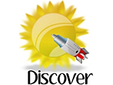 A cartoon image of a bright yellow sun with a spaceship crossing in front of it with the word Discover below it