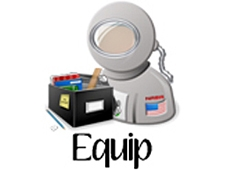 A cartoon image of an astronaut's helmet and upper torso and a box of supplies with the word Equip below it