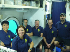 NEEMO 15 crew pose for one last picture - Takuya Onishi (JAXA), Shannon Walker (NASA), David Saint-Jacques (CSA), Steve Squyers (Cornell), Nate Bender (NURC), and James Talecek (NURC).