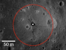 NASA recommends an artifact boundary extending 75 m from the Apollo 11 lunar module descent stage.