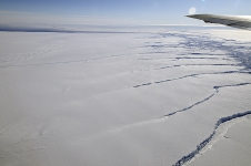 Crack in the Pine Island Glacier ice shelf seen NASA's DC-8 flew over the Pine Island Glacier Ice Shelf on Oct. 14, 2011 as part of the agency's Operation IceBridge.