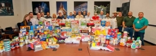ERC employees and their food contributions, which also included back-to-school items.
