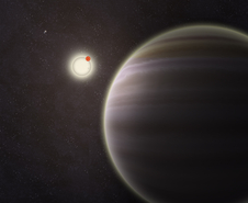 An artist's illustration of Kepler-64b or PH1, a planet discovered by volunteers from the Planet Hunters citizen science project. PH1, shown in the foreground, is the first reported case of a planet orbiting a double-star that, in turn, is orbited by a second distant pair of stars.