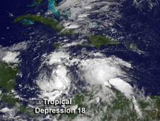 GOES image of Tropical Depression 18