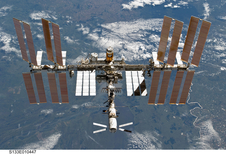 The International Space Station after Assembly Complete taken by crew aboard the space shuttle Endeavour in May 2011.