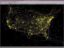This image from FACET depicts all the aircraft in flight over the U.S at one particular time.