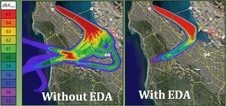 SFO flight test data shows noise reduction resulting from idle-thrust descents and more precise flight paths enabled by EDA.