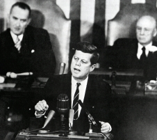 President John F. Kennedy speaks before a joint session of Congress May 25, 1961.