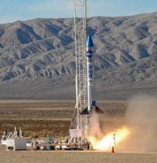 The Prospector rocket lifts off on a flight carrying a small experiment