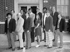 Abeyounis (back row, 3rd from left) on his first day at NASA, in 1973