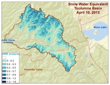 Spatial distribution of snow water equivalent across the Tuolumne River Basin on April 10, 2013 as measured by NASA's Airborne Snow Observatory
