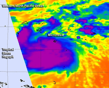 Aqua satellite captured infrared data on the Hagupit