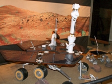 A replica Martian landscape and rover were on view for visitors.