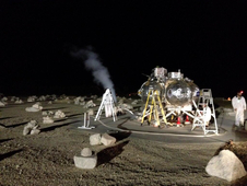 first night free-flight test of NASA' Morpheus prototype lander