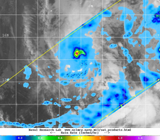 This combination image of TRMM rainfall data and GOES-West infrared data shows heavy rainfall (purple) in the center of Amanda on May 27.