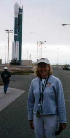 Anne with the rocket that will take Aura to orbit