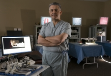 Dr. Mehran Anvari, chief executive officer and scientific director at the Centre for Surgical Invention and Innovation, with the Image-Guided Autonomous Robot (IGAR) manipulator.
