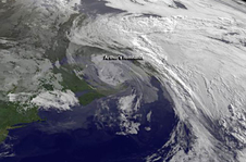 Arthur's remants seen by GOES-East