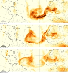 data shows the dust against a map of the Atlantic