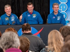 Dubbed the blue man group, astronauts Greg Johnson, Mike Foreman and Mike Good interacted with audience members during the Tweetup.