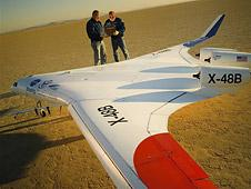 Researchers believe that the unique design of the X-48B will save 30 percent more fuel over contemporary aircraft of similar size and weight. Credit: NASA